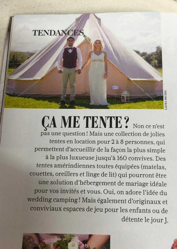 Mariee magazine juin 2016 1 - Article Mon Wedding Camping Mariée Magazine Juin 2016