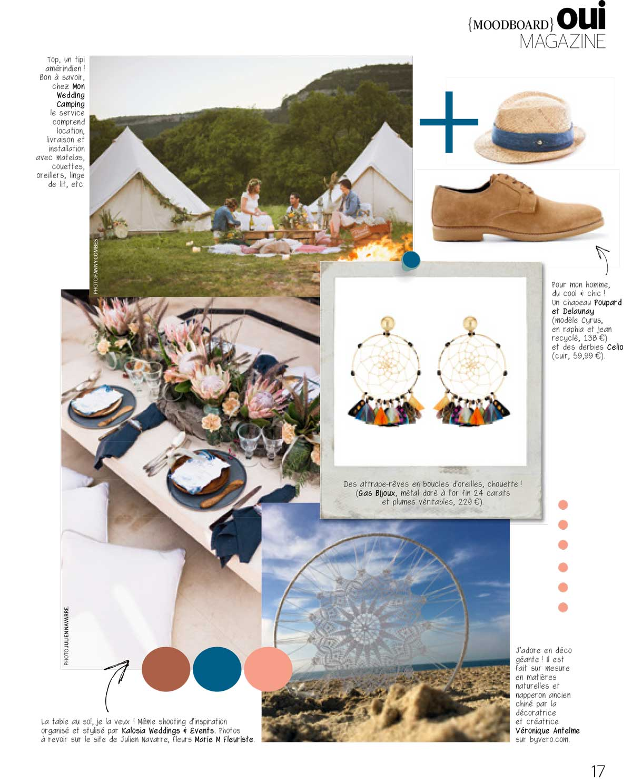 oui mag juin juillet aout 2017 moodboard noces nomades 2 - Article Mon Wedding Camping Ouimag Juin 2017